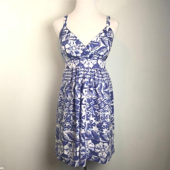 52a078013ff Merona Blue White Floral Sundress 100% Linen. M 5b2da9cb5c4452cae12c0883